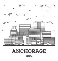 Outline anchorage alaska usa city skyline vector