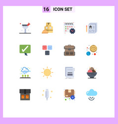 Pack 16 creative flat colors tick approve vector