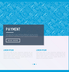 payment concept with thin line icons vector image