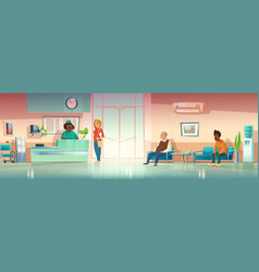 People in hospital hallway clinic hall interior vector