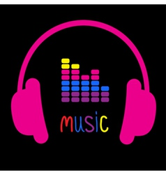 Pink headphones equalizer and colorful word music vector
