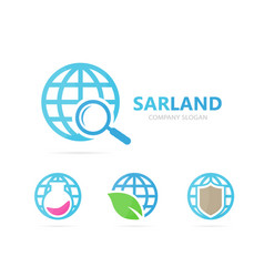 Planet and loupe logo combination world vector