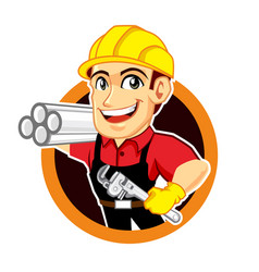 plumber worker logo mascot cartoon vector image