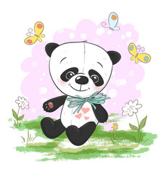 postcard cute cartoon panda with vector image
