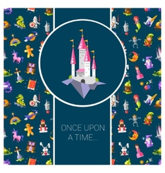 Postcard with fairy tales flat vector