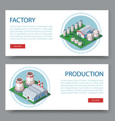 process factory technology plant set two flat vector image