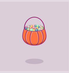 pumpkin with candies in flat style for halloween vector image
