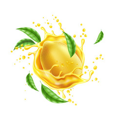 realistic lemon splash flow with leaves vector image