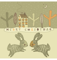 Retro Rabbits Christmas Card vector image