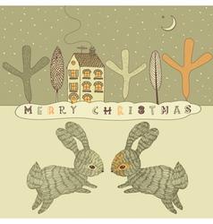 Retro Rabbits Christmas Card vector