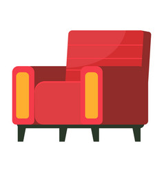 retro red colored armchair living room furniture vector image