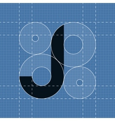 Round engineering font Symbol J vector image