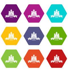 Royal castle icons set 9 vector