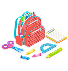 School supplies backpack with chancellery vector