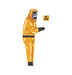 Scientist in radiation protective suit working vector