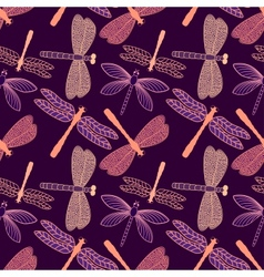 Seamless pattern with stylized dragonflies vector