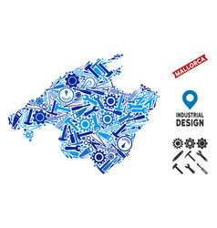 Service spain mallorca island map mosaic vector