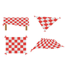 Set blanket picnic tablecloth image vector
