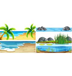Set different nature scenes vector