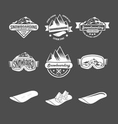 set snowboarding badges vector image