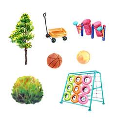 Set watercolor design tree basketball jungle vector