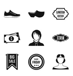 Shopping district icons set simple style vector