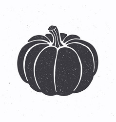 Silhouette pumpkin with stem vector