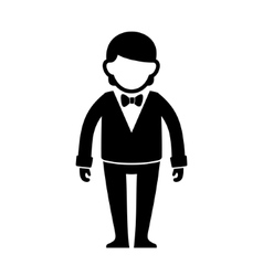 Silhouetted Man in Black Suit with Bow Tie vector