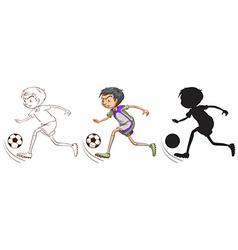 Sketch of a boy playing soccer vector