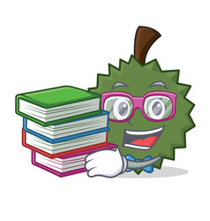 student with book durian mascot cartoon style vector image