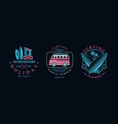 summer holiday logo original design set hawaii vector image