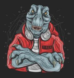 t rex dj music vector image