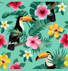 Tropical birds and palm leaves seamless background vector