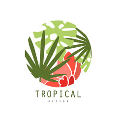 Tropical logo template design round badge with vector