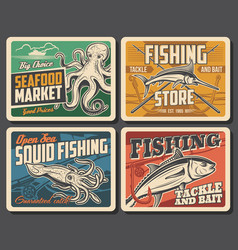 tuna fish marlin squid and octopus retro posters vector image