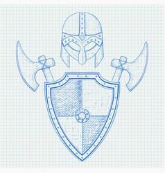 viking warrior set - helmet shield and axes hand vector image