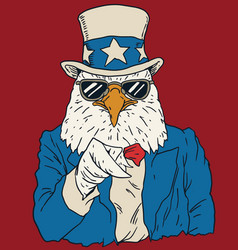 Vintage american bald eagle dressed as uncle sam vector