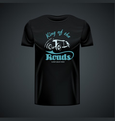 Vintage t-shirt template with retro car king of vector