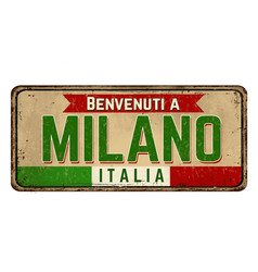 welcome to milan in italian languagevintage rusty vector image