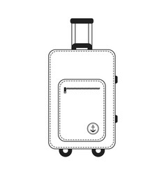 white and black color travelling baggage suitcase vector image