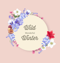 Winter bloom wreath design with orchid lavender vector