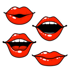 woman lips emotions - open closed and kissing lips vector image