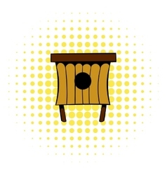 Wooden beehive icon comics style vector image