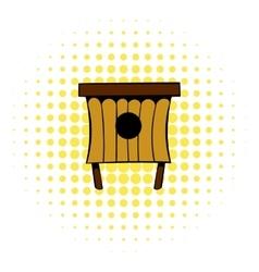 Wooden beehive icon comics style vector