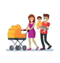 young family and baby walking outdoor vector image