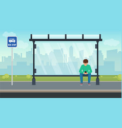 Young man sitting alone at the bus stop and using vector