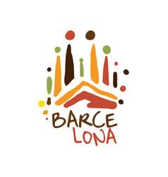 barcelona tourism logo template hand drawn vector image
