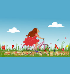 beautiful young girl riding bike on spring vector image vector image