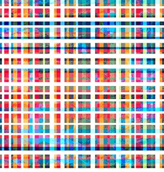 colorful grid seamless pattern with grunge effect vector image