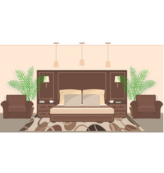 hotel room interior in warm colors with furniture vector image vector image